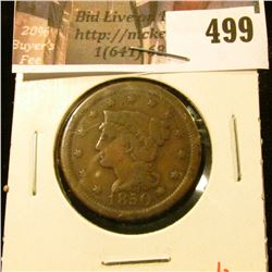 1850 Large Cent, G, value $20