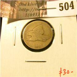 1857 Flying Eagle Cent, G, value $30