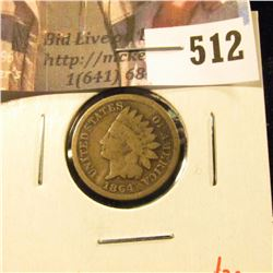 1864 CN Indian Head Cent, G+, value $20