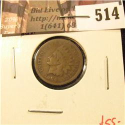 1864-L Indian Head Cent, attributed by POINTED BUST, G+, value $55
