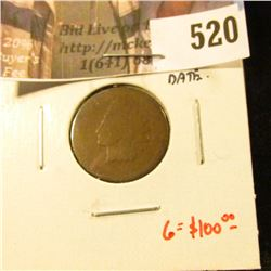 1872 Indian Head Cent, AG / Poor, faint date, another tough date, bid accordingly, G value $100