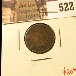 1874 Indian Head Cent, G dark, value $20