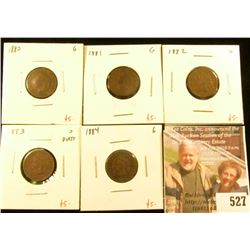 Date run set of Indian Head Cents, 1880-1884 complete, 5 pieces, all G, group value $25