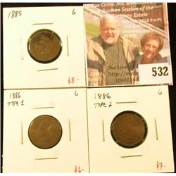 (3) tougher date Indian Head Cents – 1885, 1886 type 1 & 1886 type 2, all G, group value $21