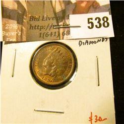 1890 Indian Head Cent, AU+, luster, 4 full diamonds, value $30