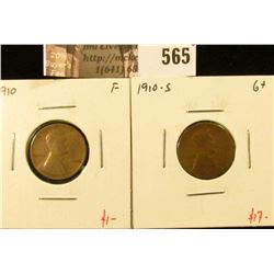 (2) Lincoln Cents, 1910 F & 1910-S G+, value for pair $18