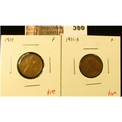 (2) Lincoln Cents, 1911 F & 1911-D F, value for pair $11+