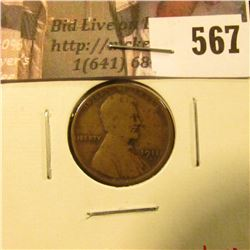 1911-S Lincoln Cent, G, tough semi-key date, value $50