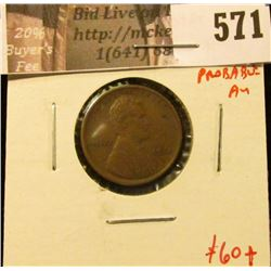 1915 Lincoln Cent, XF+ (probable AU), TOUGH grade for date, value $60+