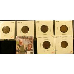 (6) Lincoln Cents, 1928 VF30, 1928-D F, 1928-S F, 1929 VF30, 1929-D XF, 1929-S F, group value $13+