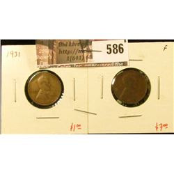 (2) Lincoln Cents, 1931 F & 1931-D F, value for pair $8