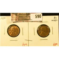 (2) Lincoln Cents, 1937 Unc, 1937-S BU MS63+, value for pair $12