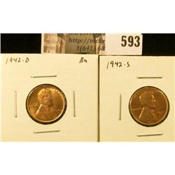 (2) Lincoln Cents, 1942-D BU, 1942-S BU, value for pair $11