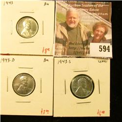 (3) Lincoln Cents, 1943PDS, all are BU, group value $17