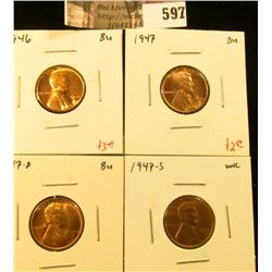 (4) Lincoln Cents, 1946, 1947, 1947-D, all BU, 1947-S Unc (but still nice), group value $9+