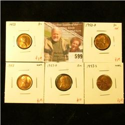 (5) Lincoln Cents, 1952, 1952-D, 1953-D, all BU, 1953 & 1953-S, both UNC, group value $11+