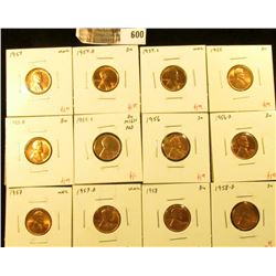 (12) Lincoln Cents, 1954PDS, 1955PDS, 1956PD, 1957PD, 1958PD, complete date and mintmark run from 19