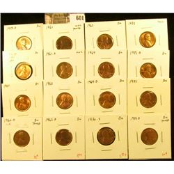 (16) Lincoln Cents, 1959-D, 1960 small date, 1960 large date, 1960-D small date, 1961, 1961-D, 1962,