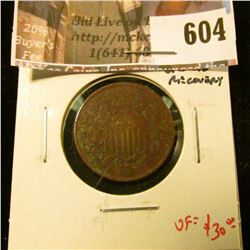 1866 2 Cent Piece, VF porous, ground recovery, VF value $30