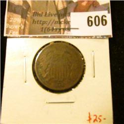 1869 2 Cent Piece, G, value $25