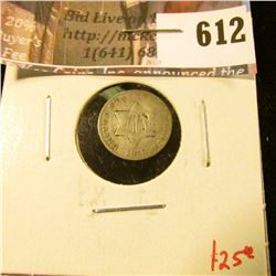 1853 3 Cent Silver, G+, value $25