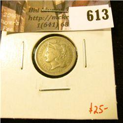 1865 3 Cent Nickel, F, value $25