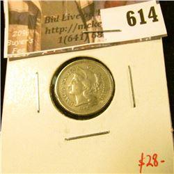 1866 3 Cent Nickel, VF, value $28