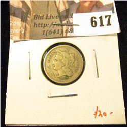 1869 3 Cent Nickel, VG, value $20