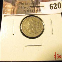 1873 open 3 3 Cent Nickel, VF, value $30