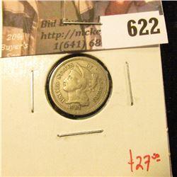 1881 3 Cent Nickel, F, value $27