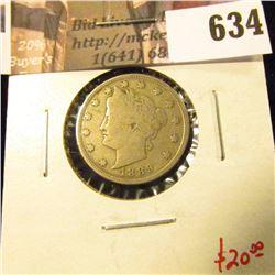 1889 V Nickel, VG10, value $20