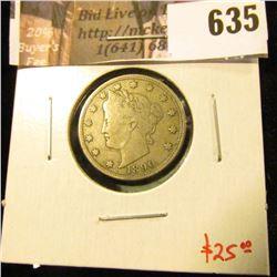 1890 V Nickel, F+, value $25