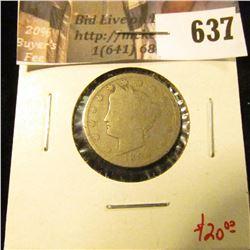 1894 V Nickel, better date, G, value $20