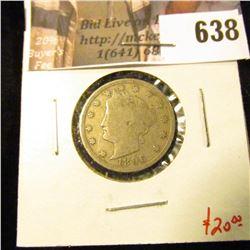 1896 V Nickel, VG10, value $20