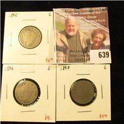 (3) V Nickels, 1895, 1896, 1897, all G, group value $19