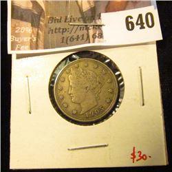 1905 V Nickel, XF, value $30