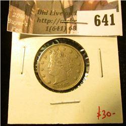 1907 V Nickel, XF, value $30