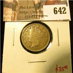 1909 V Nickel, XF, value $35