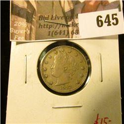 1912 V Nickel, VF, value $15