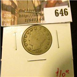 1912-D V Nickel, F, value $10
