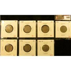 (7) V Nickels, 1907, 1908, 1909, 1910, 1911, 1912, 1912-D, all VG, group value $23