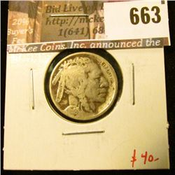 1918-D Buffalo Nickel, VG, full date, value $40