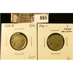 (2) Buffalo Nickels, 1920-D G/VG & 1920-S G, reverse lamination, value for pair $15