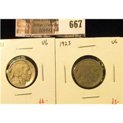 (2) Buffalo Nickels, 1921 VG & 1923 VG, value for pair $9