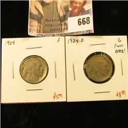 (2) Buffalo Nickels, 1924 F & 1924-D G, full date, value for pair $13+