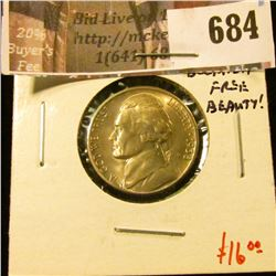 1938-S Jefferson Nickel, GEM BU, MS65+ blemish free beauty! value $16+