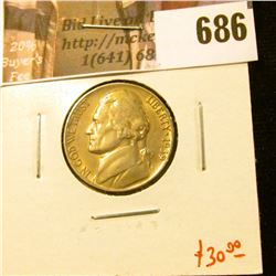 1939-D Jefferson Nickel, AU, key date, tough in high grades, value $30