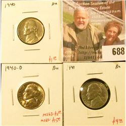 (3) Jefferson Nickels, 1940, 1940-D, 1941, all BU, group value $7 to $20