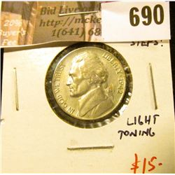 1942-P Jefferson Nickel, BU MS64+ full steps, light toning, value $15