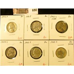 (6) Jefferson Nickels, 1942-P, 1943-P, 1943-S, 1944-S, 1945-P, 1945-S (toned), all AU, group value $